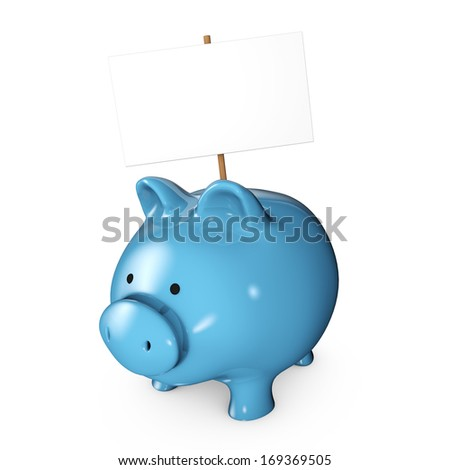 Blue piggy bank with a sign and a white background - stock photo