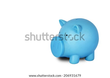 Blue piggy bank with coin on white background.
