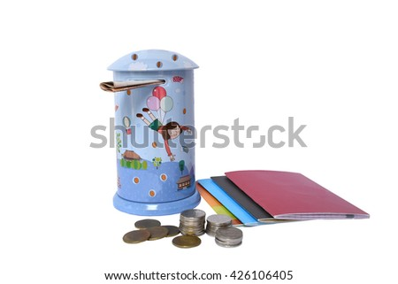Blue Piggy bank with coins and saving account book bank isolated on white background - stock photo