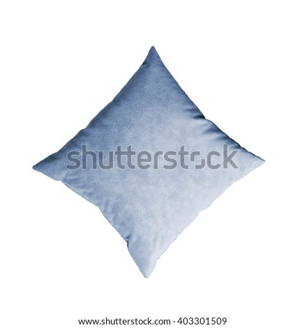 blue pillow isolated on the white
