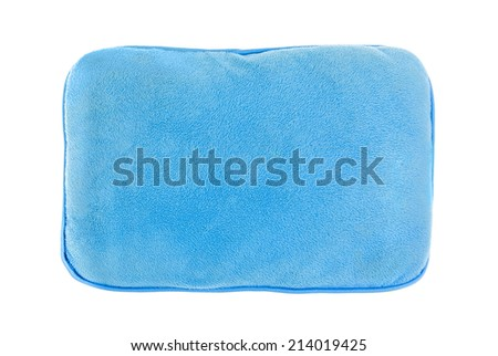Blue pillow isolated on white background. - stock photo