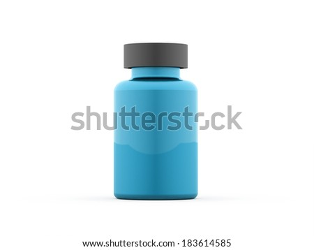 Blue pills bottle rendered isolated on white background - stock photo