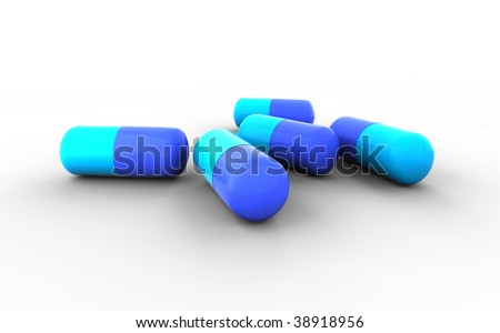 Blue pills isolated on white background