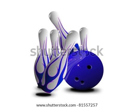 Blue pin strikes - stock photo