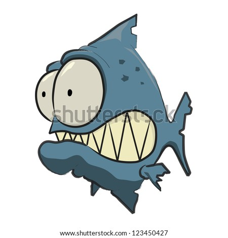 Blue Piranha Cartoon