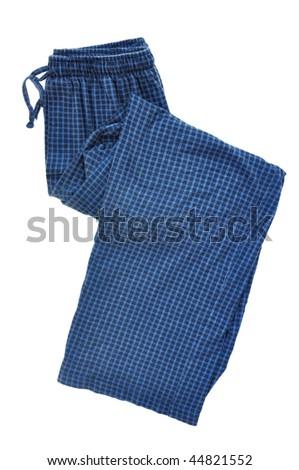 Blue Plaid Pajama Pants Isolated on a White Background - stock photo