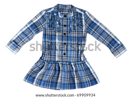 Blue plaid shirt baby on a white background - stock photo