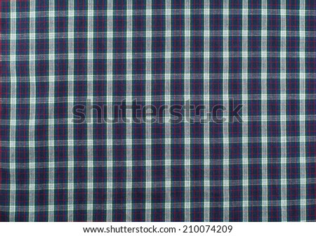 blue plaid tablecloth - stock photo