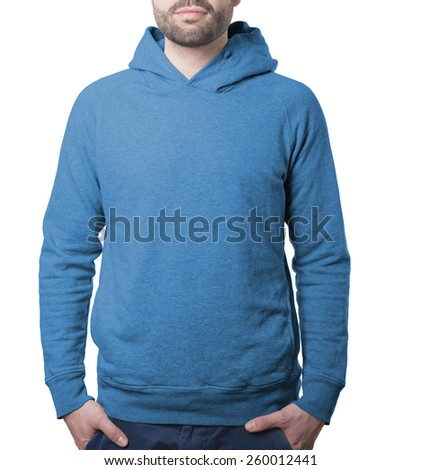 blue plain hoody template with male torso isolated on white with clipping path both for background and garment - stock photo