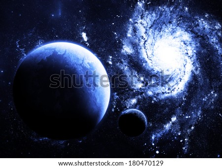Blue Planet Above Galaxy - Elements of this Image Furnished by NASA - stock photo
