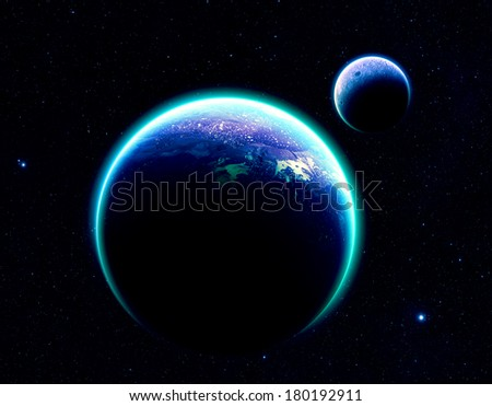 Blue Planet and Moon on Stars - Elements of this Image Furnished by NASA - stock photo