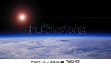 Blue Planet And Red Star, Low Orbit Space View, Background