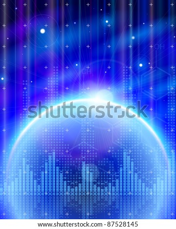 Blue planet, chemical formulas, digital wave & stars - technology background. Bitmap copy my vector id 74035822