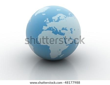 Blue planet - 3d world globe - stock photo