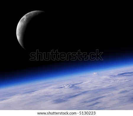 Blue Planet Earth And Crescent Moon, Space Background