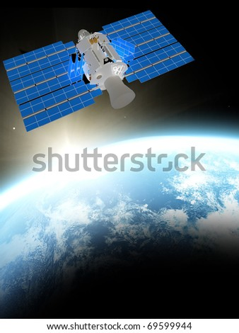 blue  planet earth and satelite  in space. - stock photo
