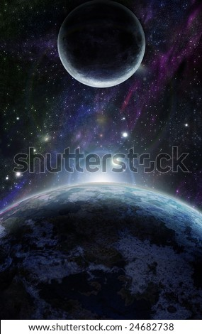 blue planet earth in outer space - stock photo