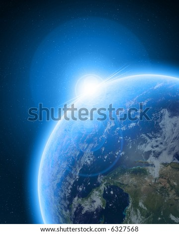 Blue planet earth in outer space