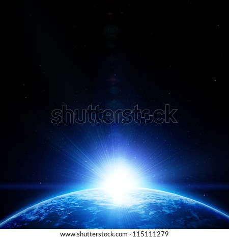 Blue planet earth in outer space (image is completely drawn) - stock photo