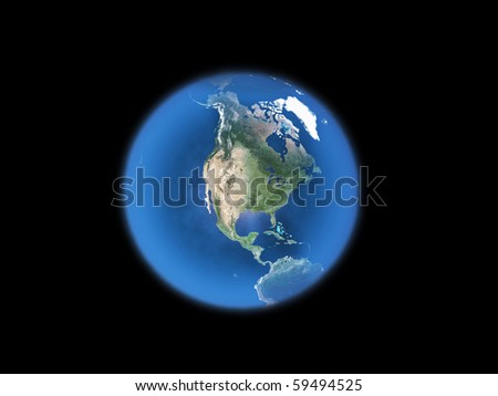 blue  planet earth  on Black - stock photo