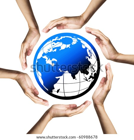 Blue planet (Earth) surrounded by hands - stock photo