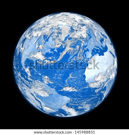Blue planet Earth with clouds isolated on black background. Elements of this image furnished by NASA.