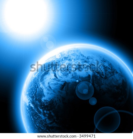 Blue planet earth with sun