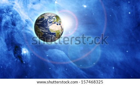 blue planet in beautiful space. Elements of this image furnished by NASA - stock photo