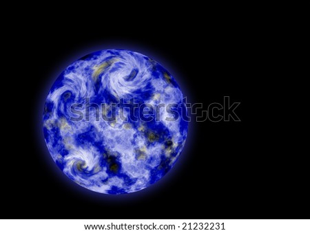 Blue planet on the black background (paint)
