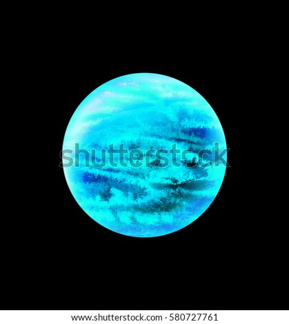 Blue planet on white background - pluto, venus, jupiter. Science fiction art. Raster hand drawn illustration