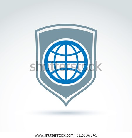 Blue planet placed on shield, save earth conceptual symbol. Ecology icon on universe protection theme. - stock photo