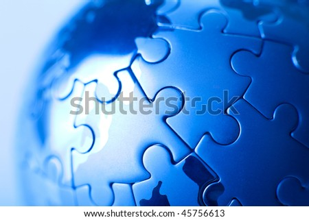 Blue planet puzzle - stock photo