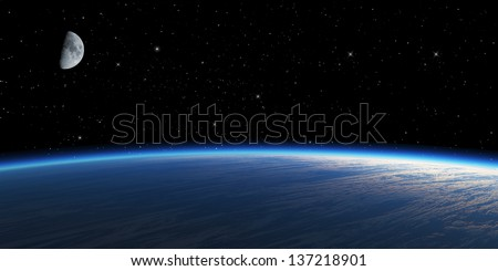 Blue planet with moon on starry space background. - stock photo