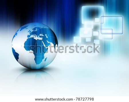 blue planet with transparent windows on the striped background - stock photo