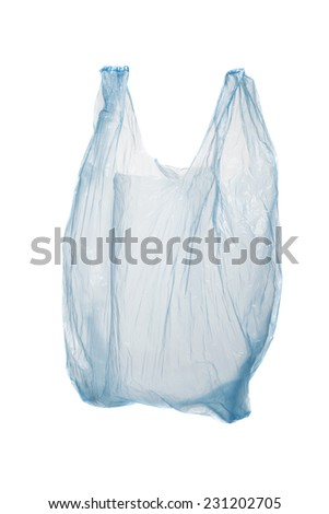 Blue plastic bag isolated on white