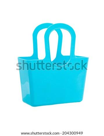 Blue plastic bag isolated on white background. - stock photo