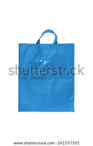 Blue plastic bag on white background