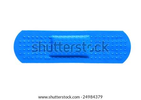 Blue plastic bandage isolated in white background - stock photo