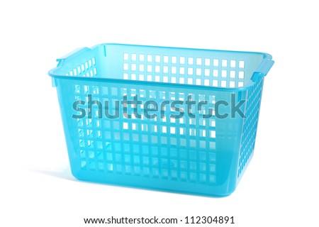 Blue plastic basket on a white background - stock photo