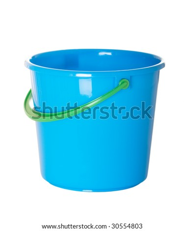 Blue plastic beach pail with green handle - stock photo