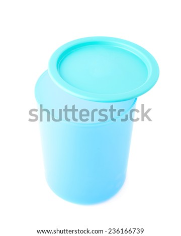 Blue plastic beaker cup with a cap isolated over the white background - stock photo