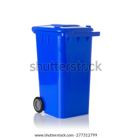 Blue plastic bin isolated on white background. - stock photo