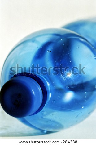Blue plastic bottle - stock photo
