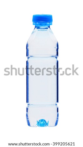 Blue plastic bottle of water isolated on white background - stock photo