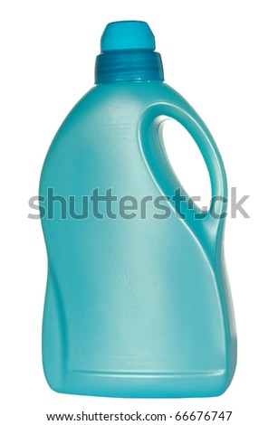 Blue plastic bottle on a white background