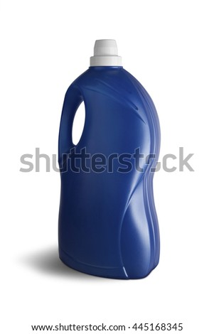Blue plastic bottle on white background. With clipping path