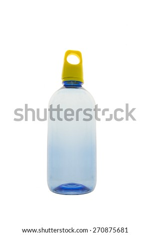 blue plastic bottle the color yellow cap of drinking water   on white background - stock photo