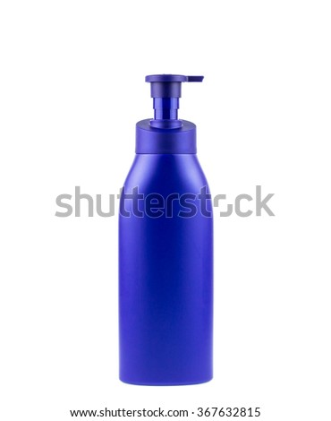 Blue plastic bottle with the pump isolated on a white background, clipping path. - stock photo
