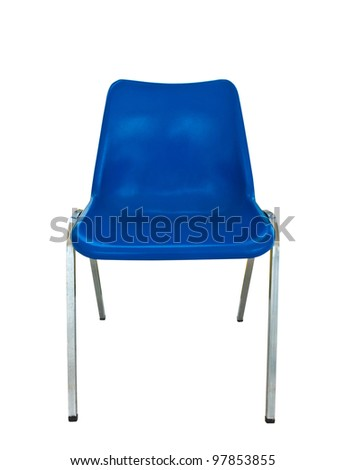 blue plastic chair on white background with clipping path - stock photo