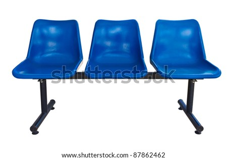 Blue plastic chairs at the bus stop isolated on white - stock photo